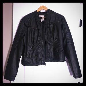 Maralyn & Me Faux Black Leather Jacket